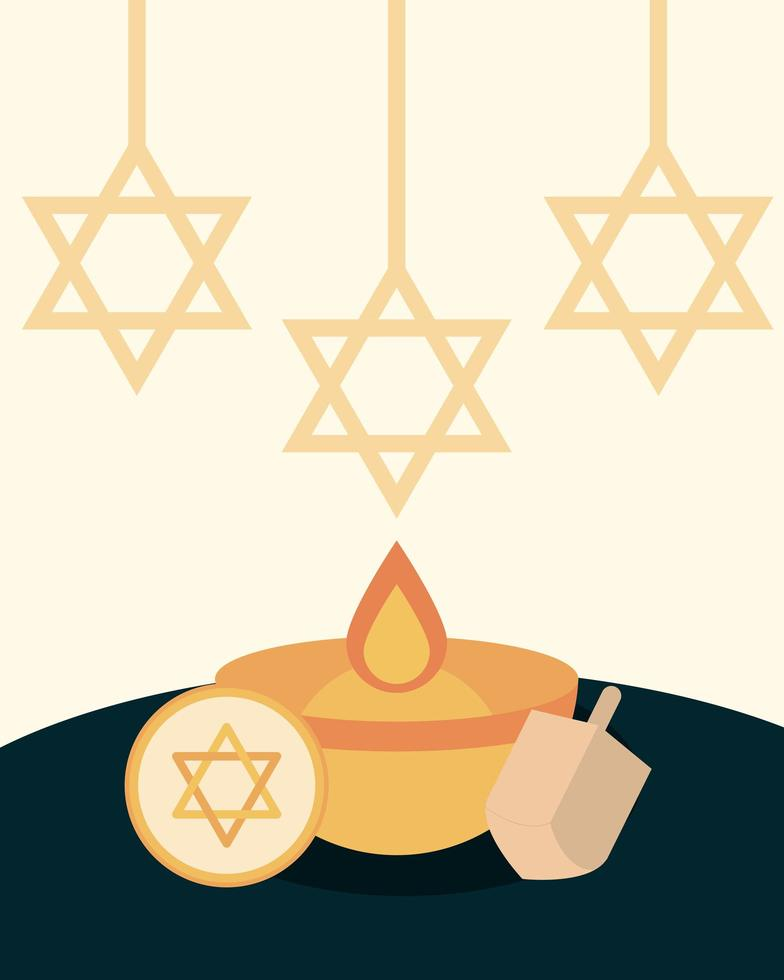 Happy Hanukkah flat composition vector