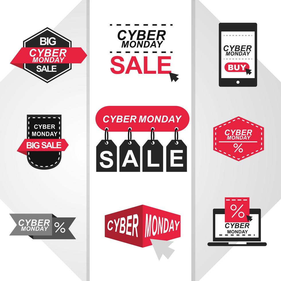 Cyber Monday sale icon set vector