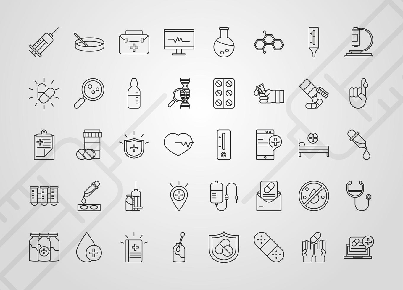Vaccine research and science icon collection vector