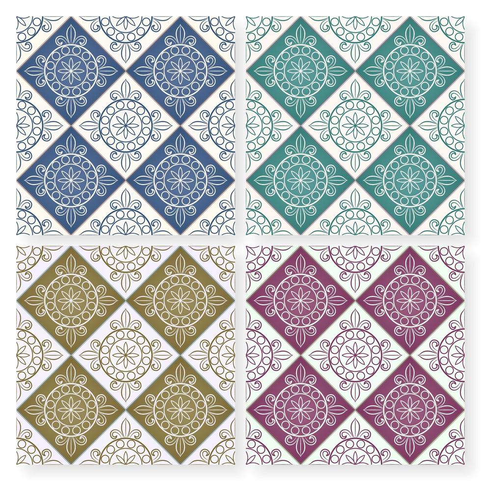 Seamless multicolor Moroccan patchwork tile pattern vector