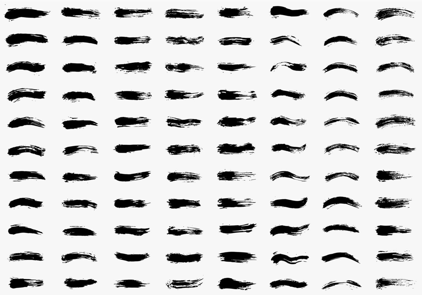 conjuntos de pinceladas dibujadas a mano vector