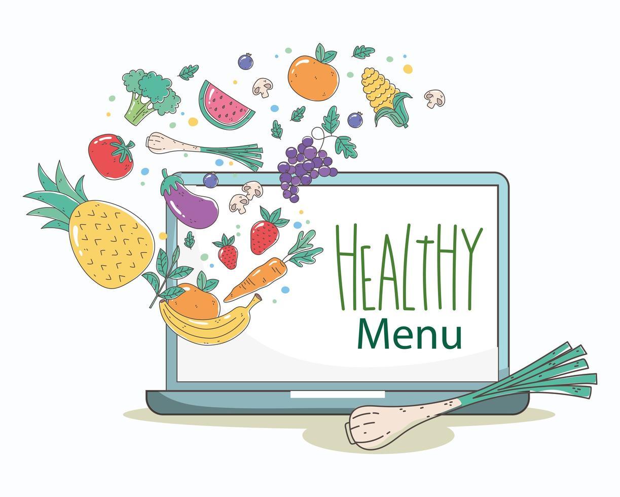 menú saludable y composición de comercio electrónico de alimentos frescos. vector