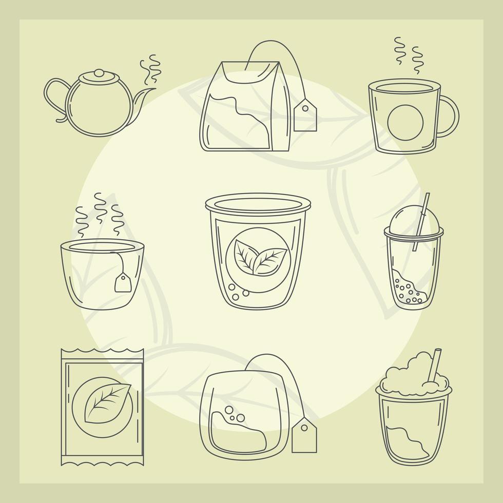 conjunto de iconos de la hora del té vector