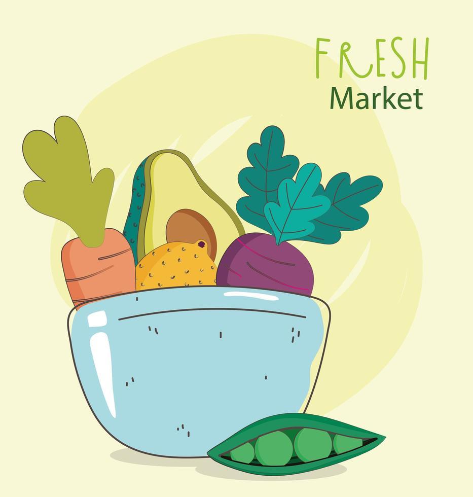 menú saludable y composición de alimentos frescos. vector