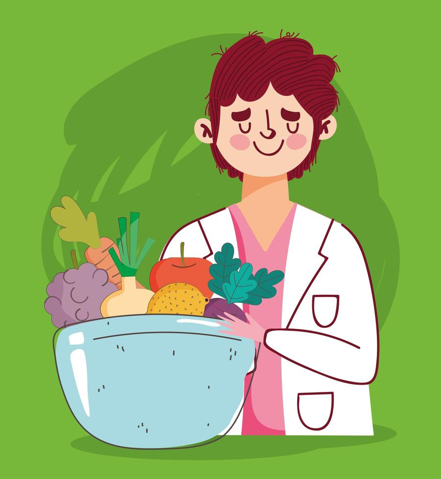 médico dietista con comida fresca y saludable vector
