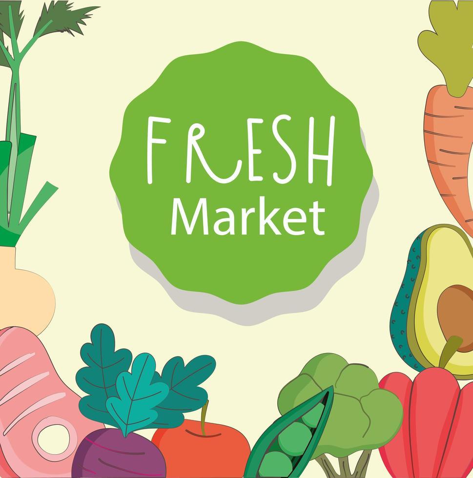 Healthy menu and fresh food composition vector