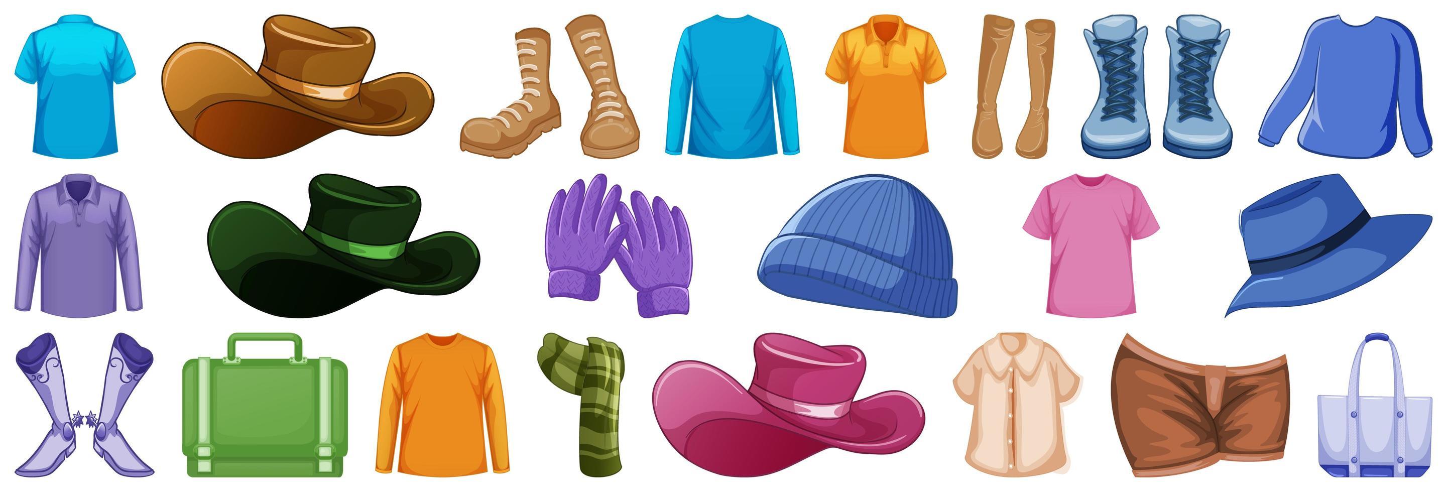 conjunto de accesorios de moda y ropa. vector