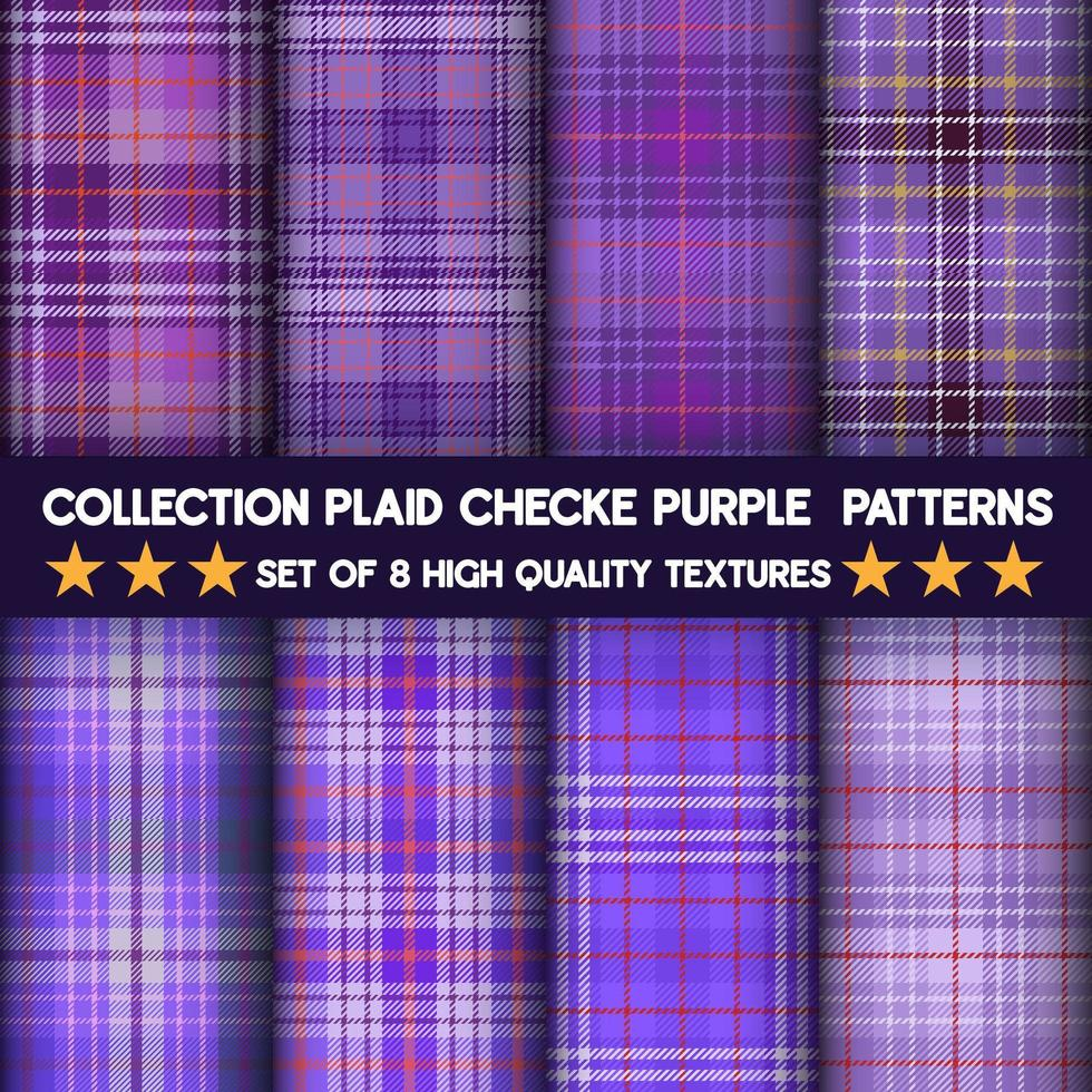 Purple checkered plaid fabric seamless pattern collection vector