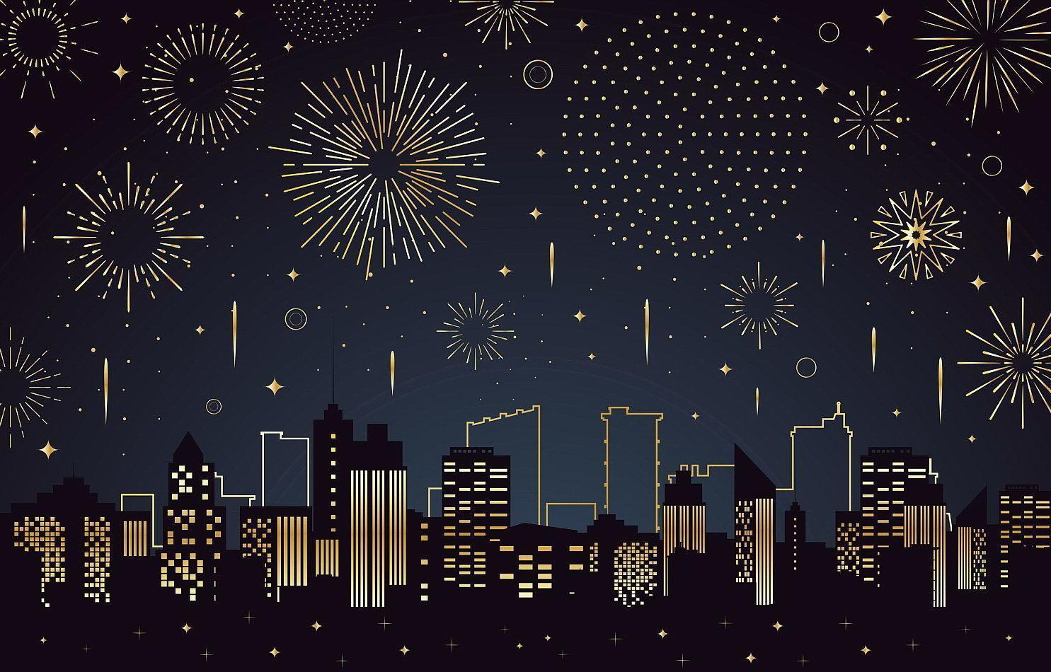 Scenery of Fireworks Above a City Buildings Silhouette vector