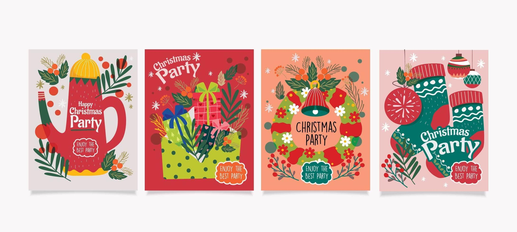 Christmas Card with Super Cute Style vector