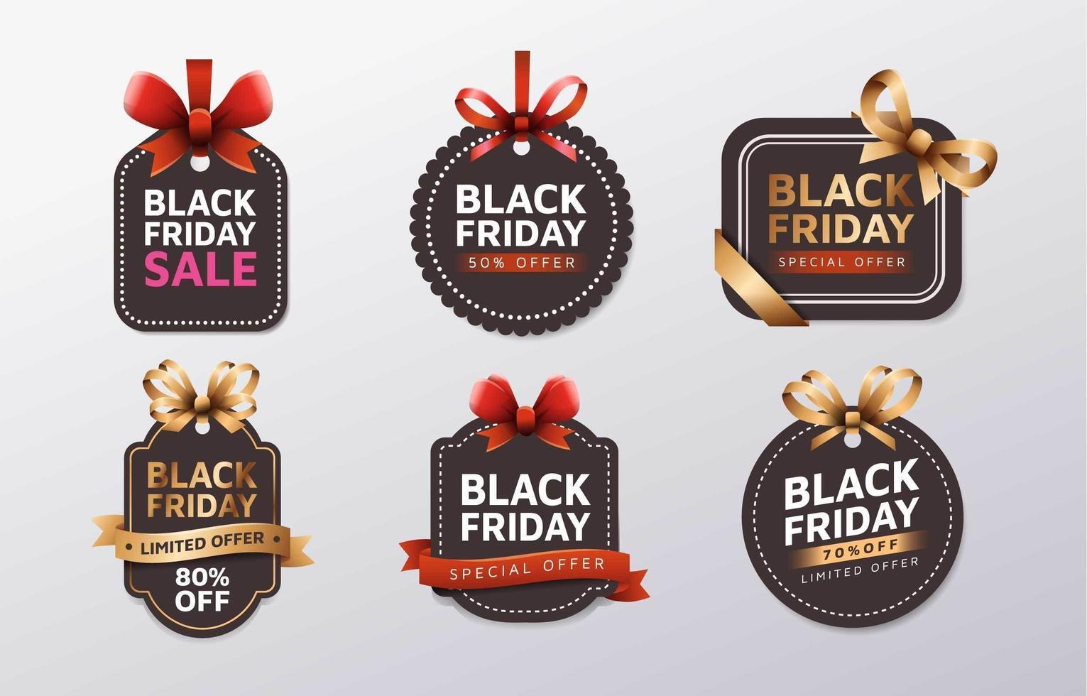 Set of Black Friday Label vector