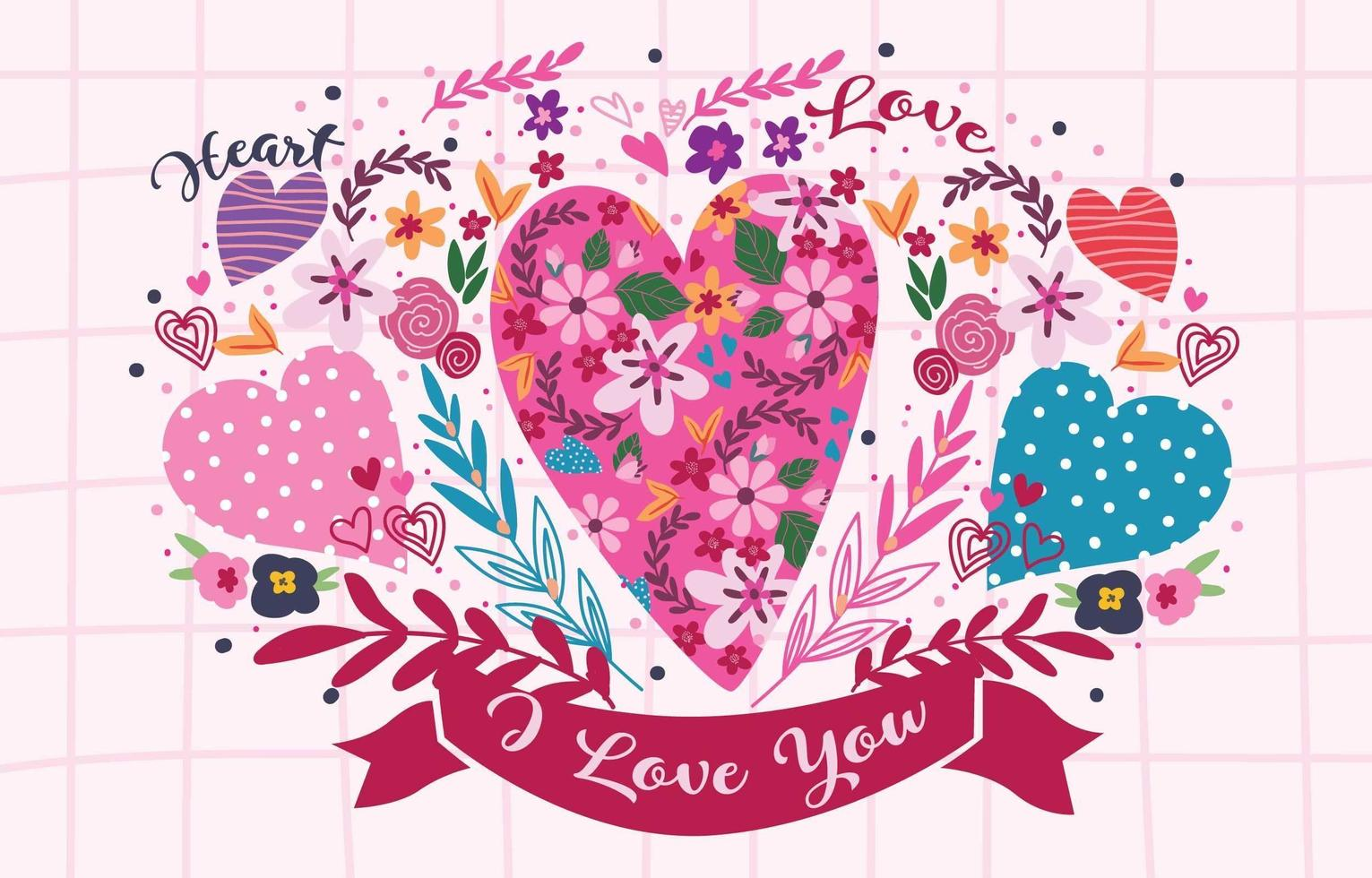 Heart Illustration with Colorful Flowers vector