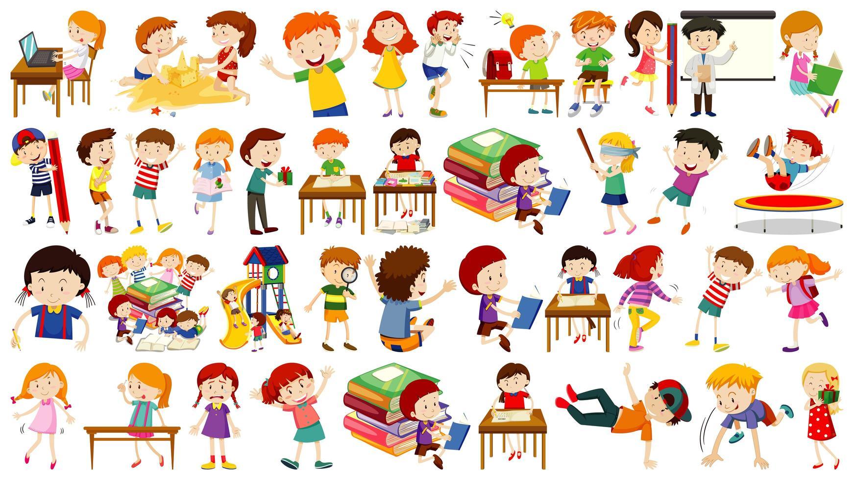 conjunto de lindos personajes de dibujos animados de niños activos vector