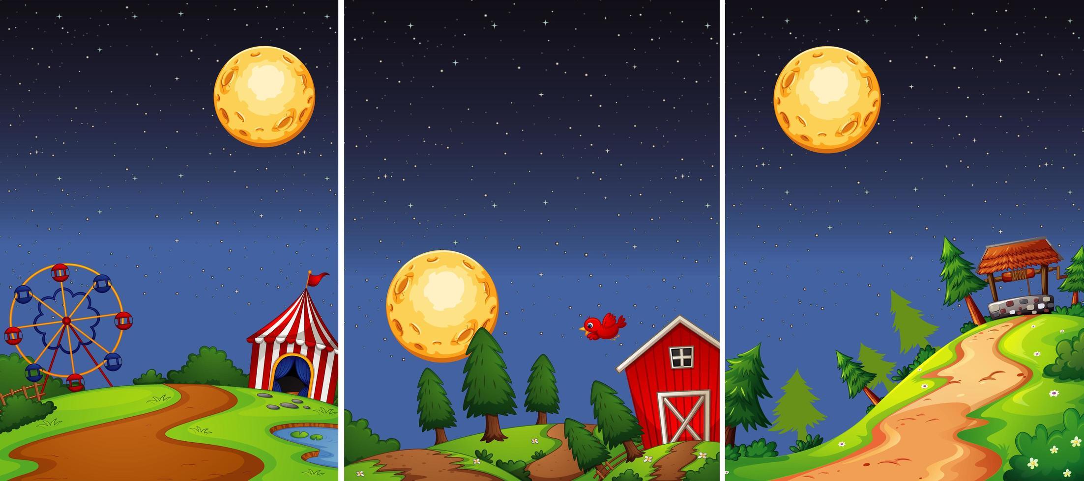 Set of night scenes with moon vector