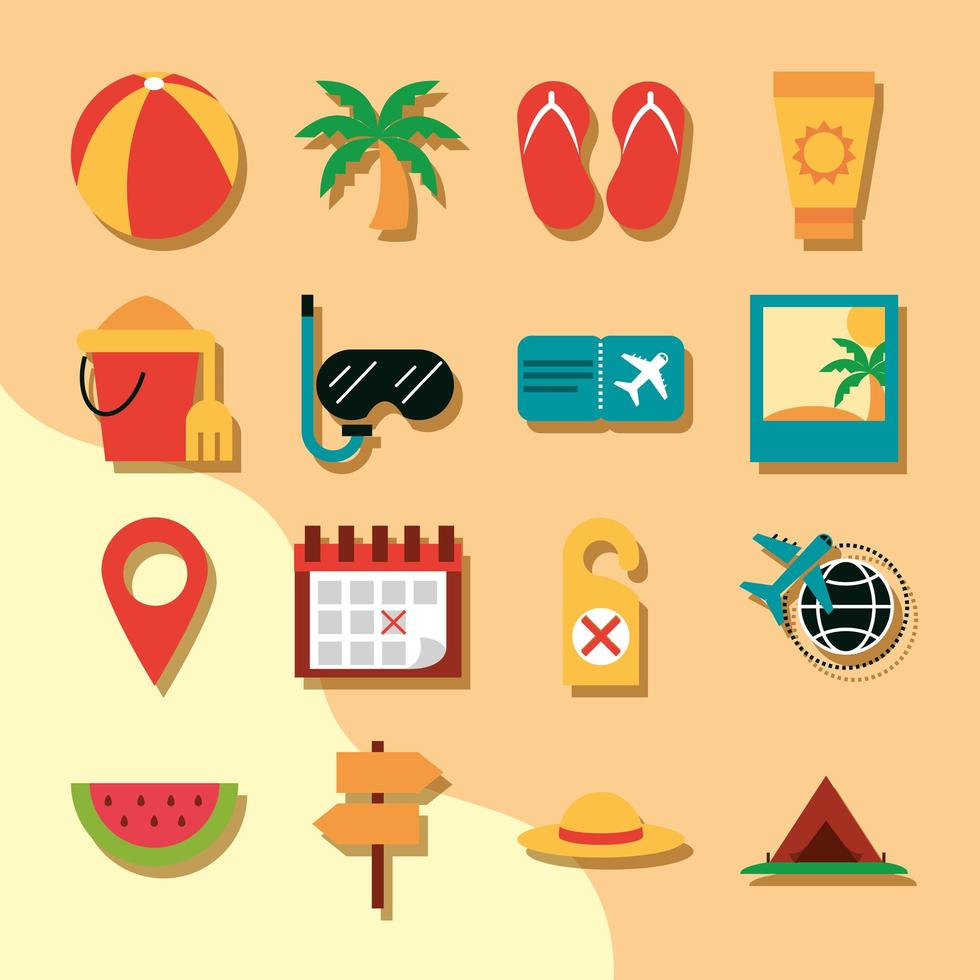 Travelling and tourism flat icon set vector
