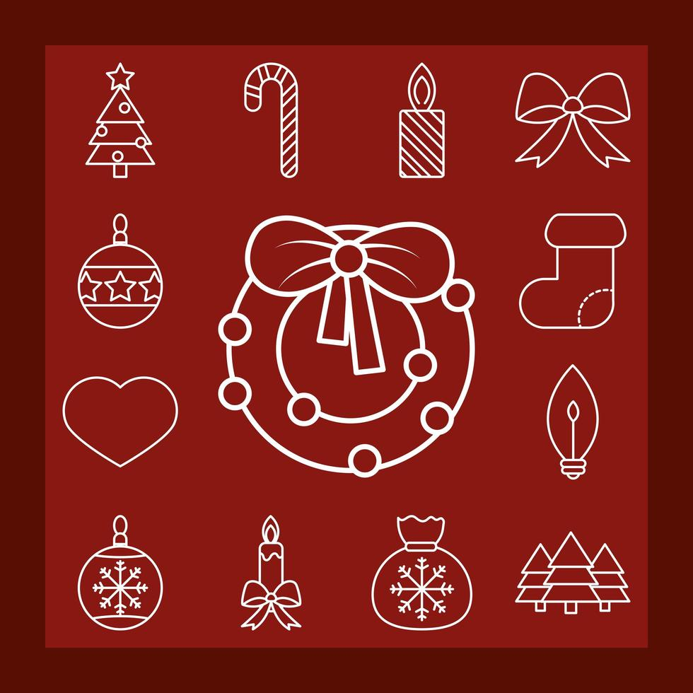 Christmas line-art icon collection vector