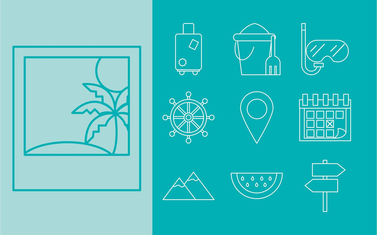 Travelling and tourism icon set vector