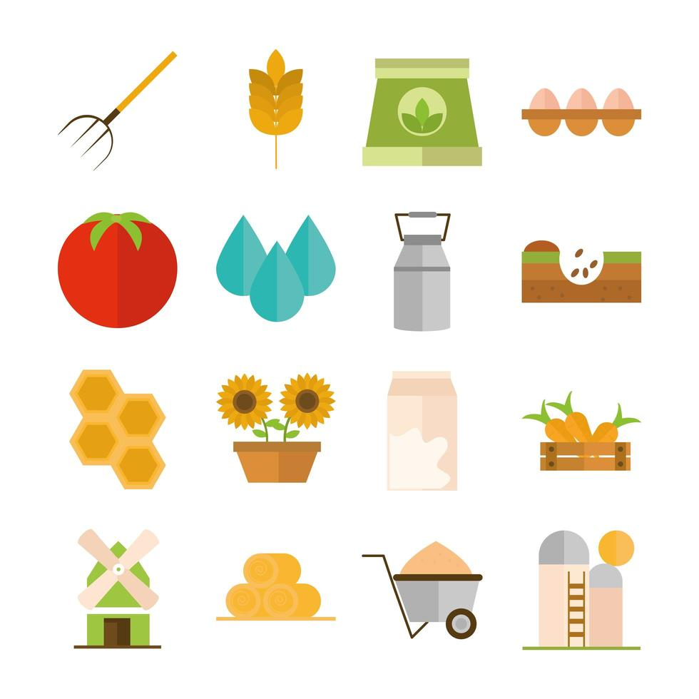 Agriculture and farming flat icon set vector