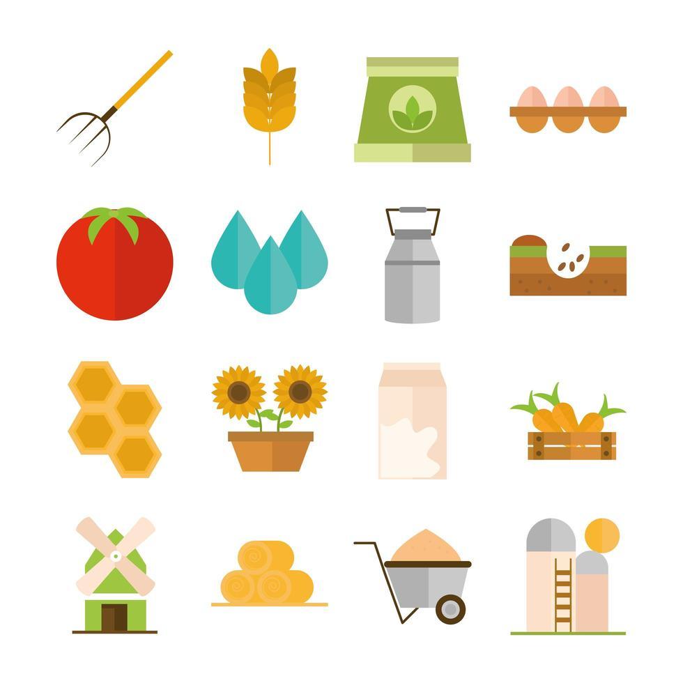 conjunto de iconos planos de agricultura y agricultura vector