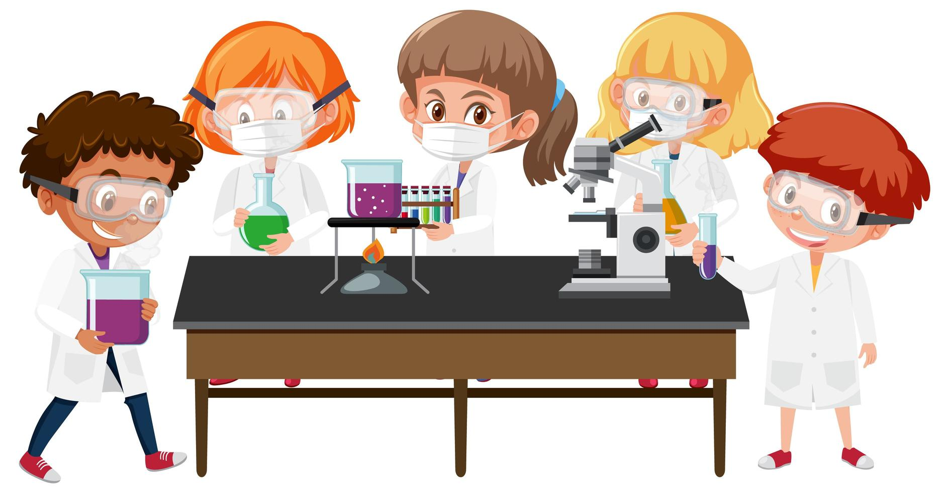 Set of kids in scientist coats in lab vector