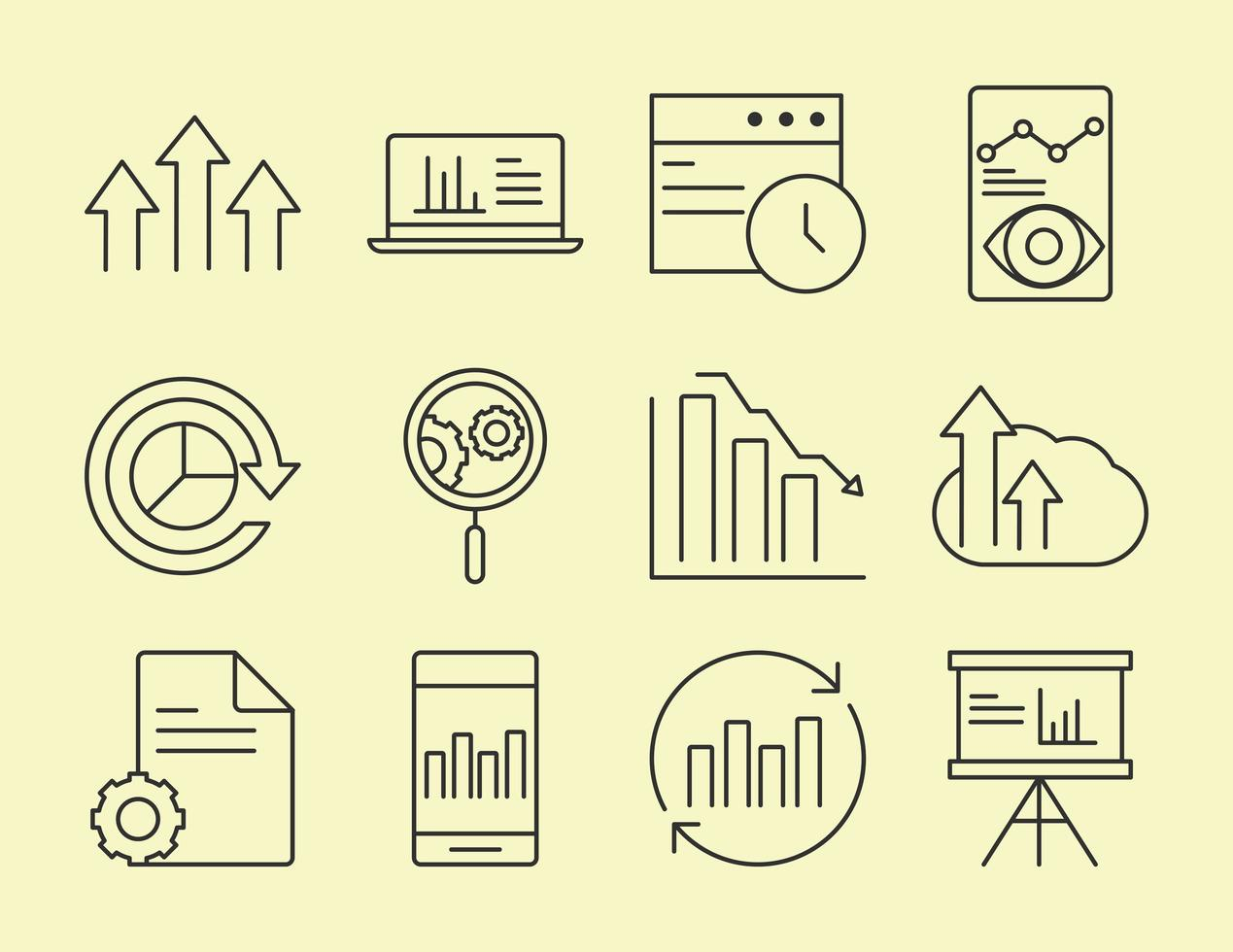 Data analysis, business, and marketing strategy icon set vector