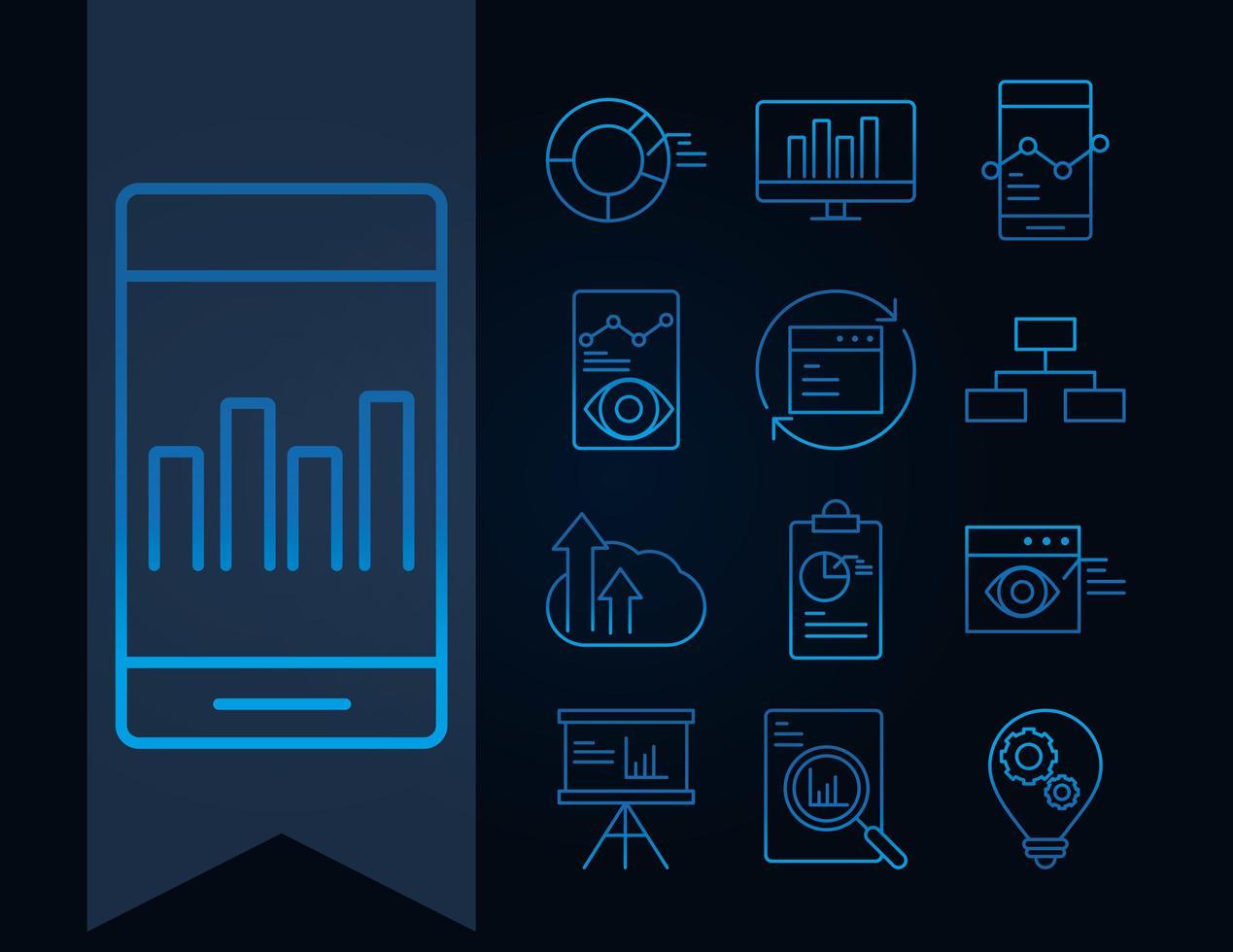 conjunto de iconos de análisis de datos, negocios y estrategia de marketing vector