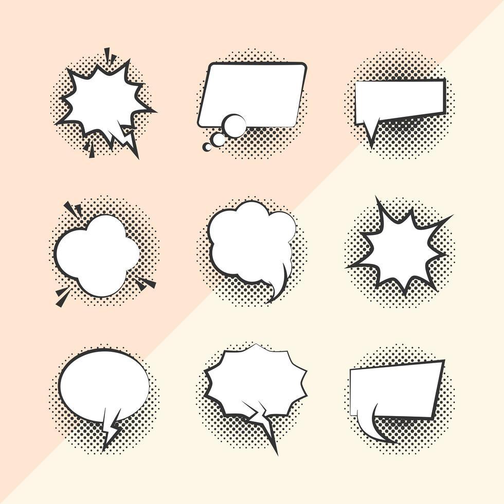 conjunto de iconos de burbujas de discurso de estilo pop-art vector