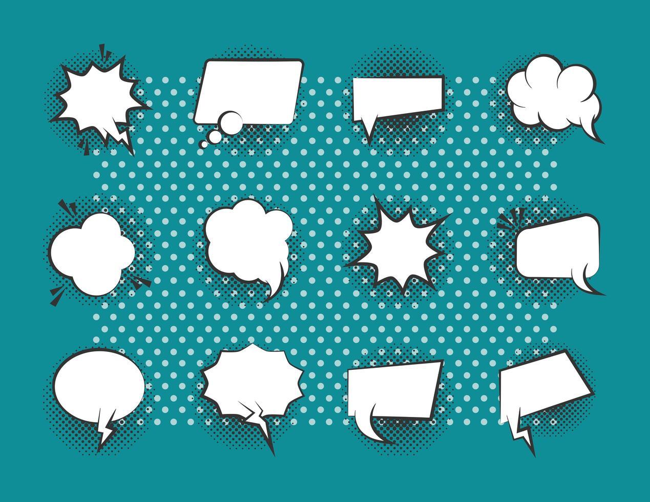Pop-art style speech bubbles icon set vector