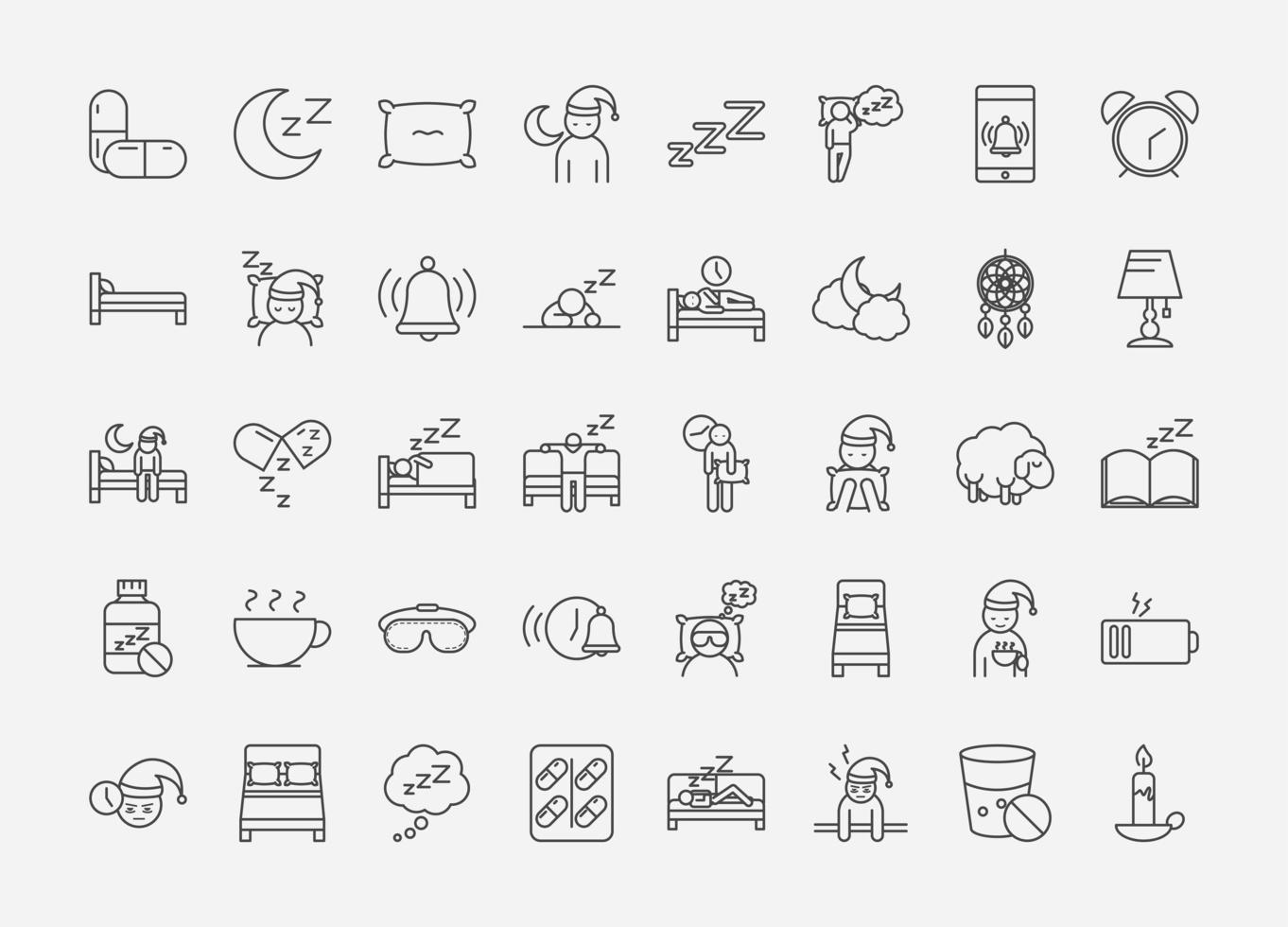 conjunto de iconos de arte de línea de calidad de sueño vector