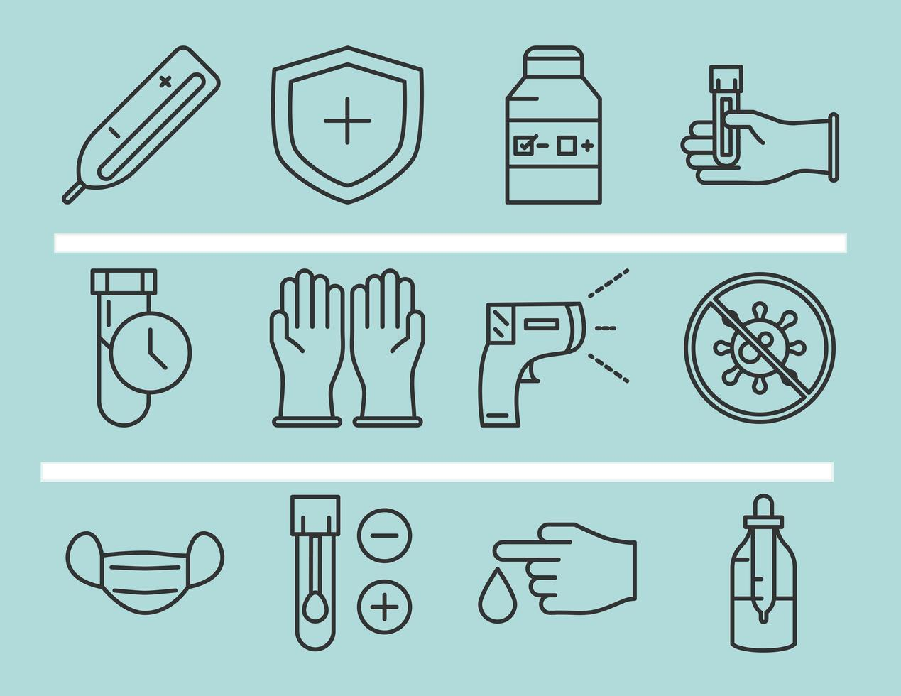 Coronavirus diagnostics and research icon set vector