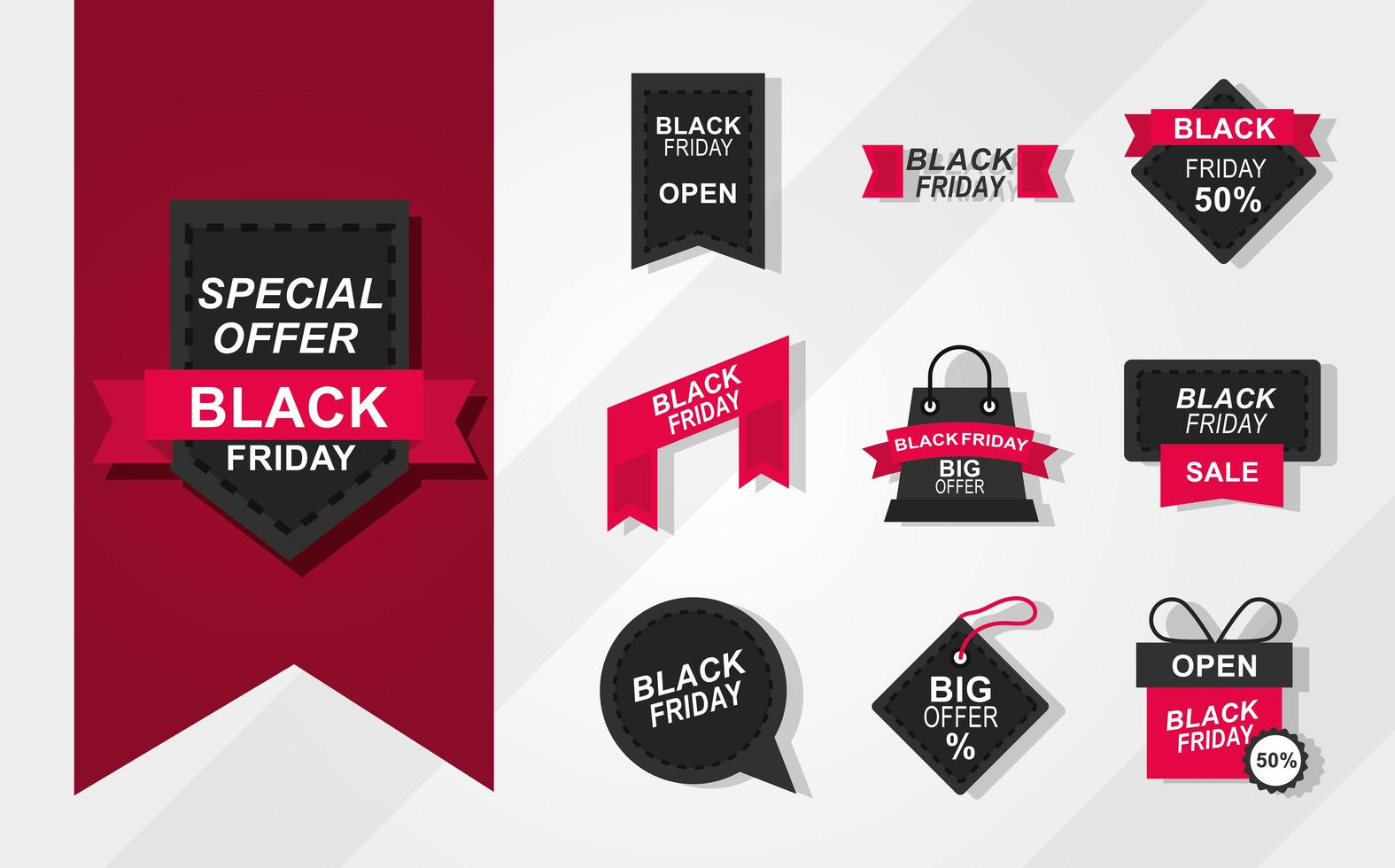 colección de iconos de venta de viernes negro vector