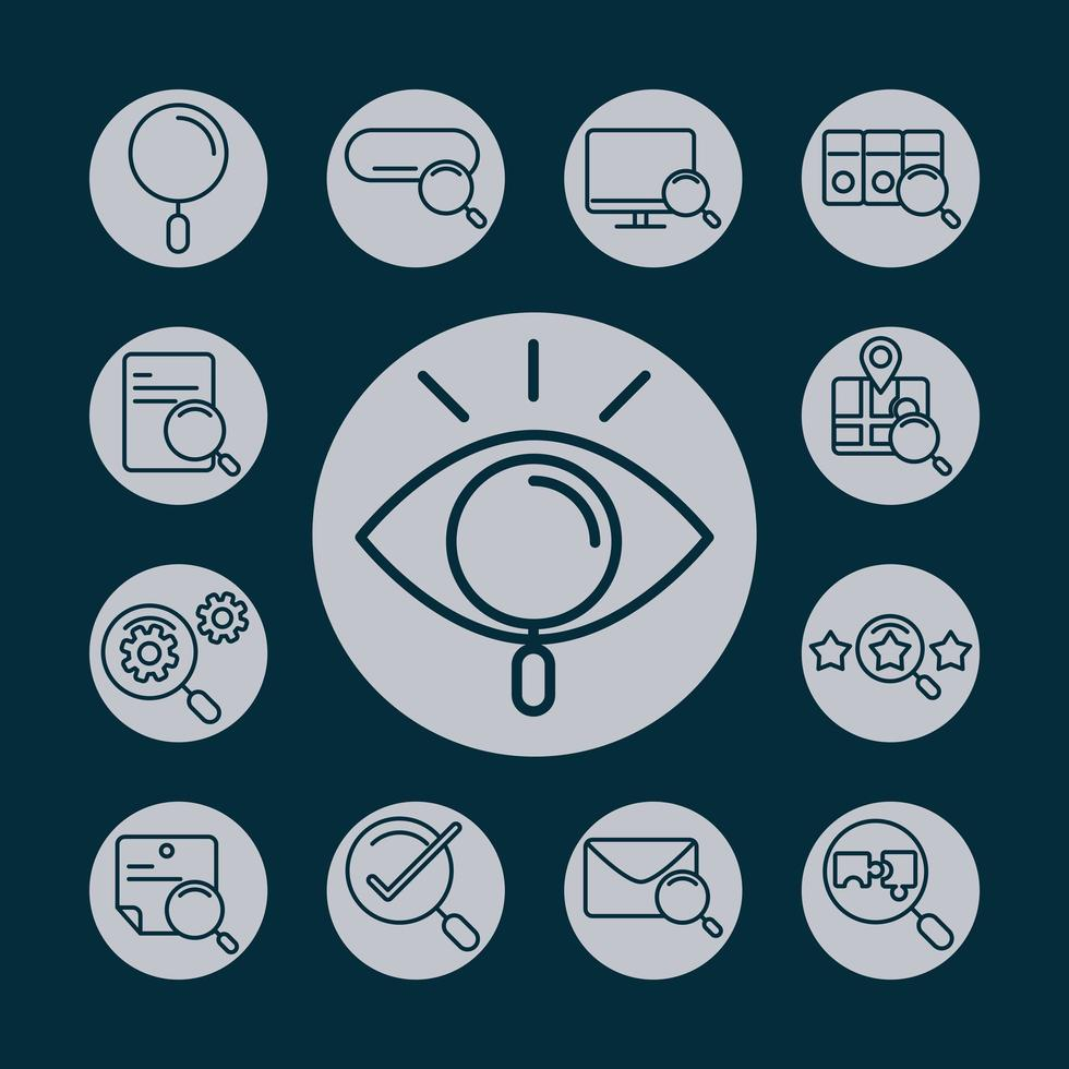 Web search icon set with magnifying glasses vector