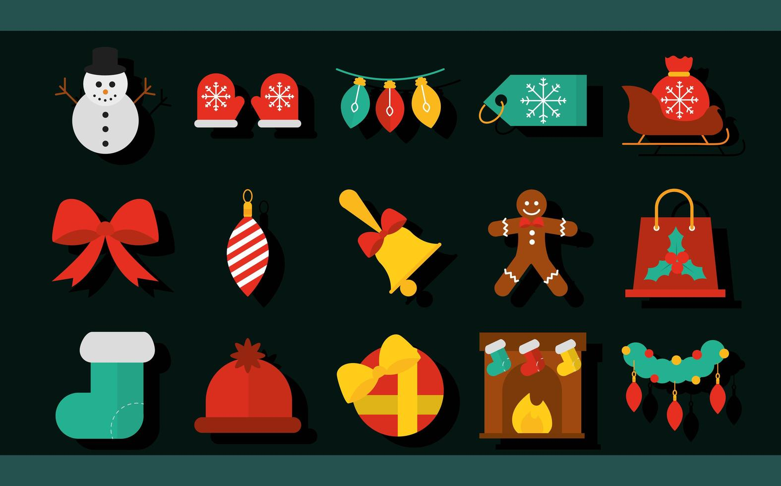Christmas flat icon collection vector