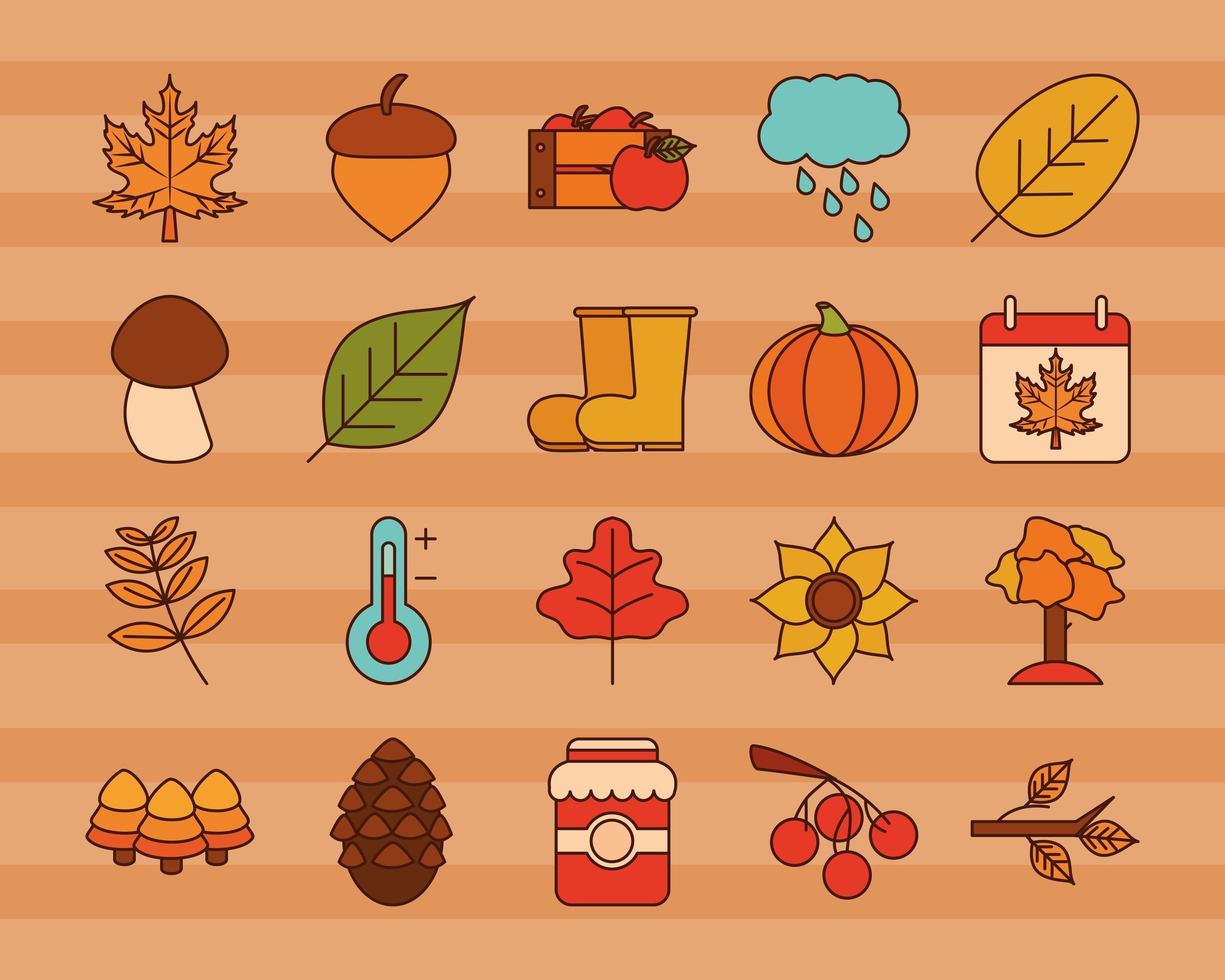 conjunto de iconos de la temporada de otoño vector