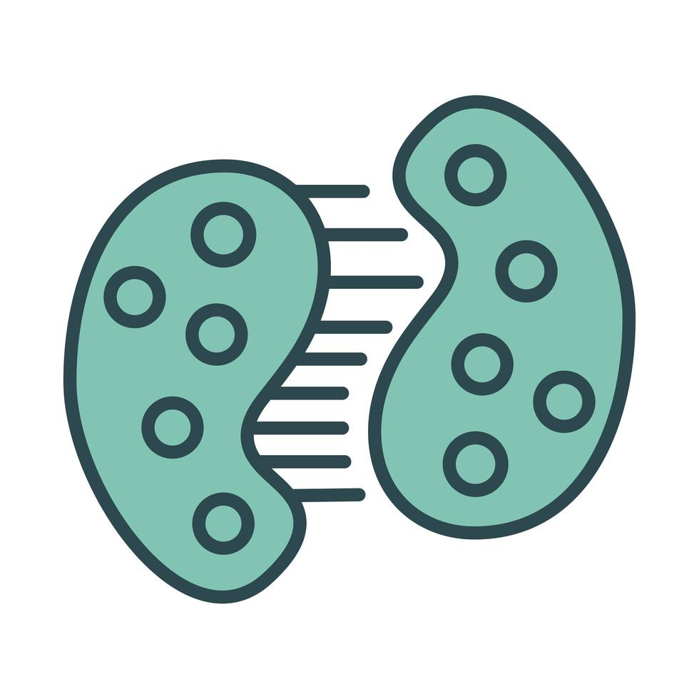 Infected cell dividing with covid19 fill style icon vector