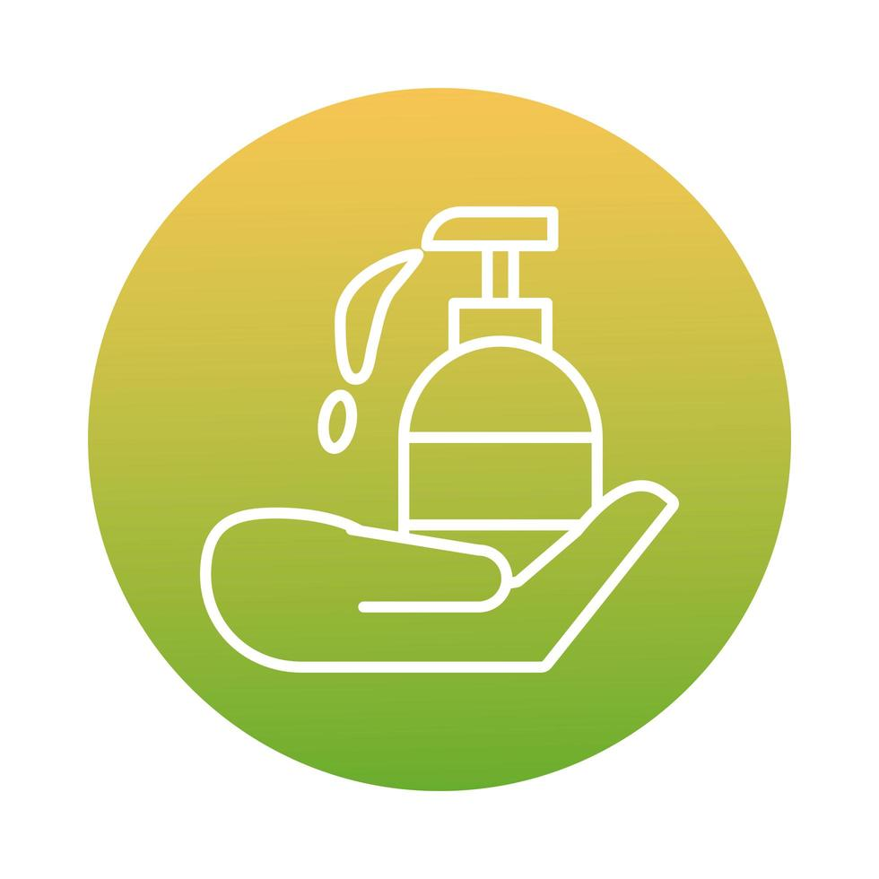 Hand with antibacterial soap bottle block icon vector