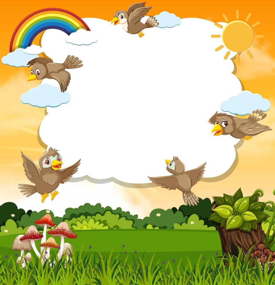 Birds in nature scene frame template vector