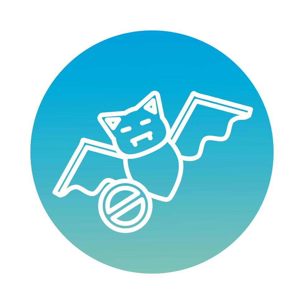 icono de estilo de bloque volador animal murciélago vector
