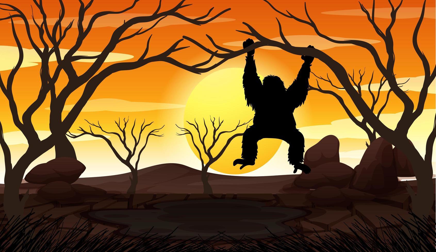 mono en la rama de un árbol al atardecer vector