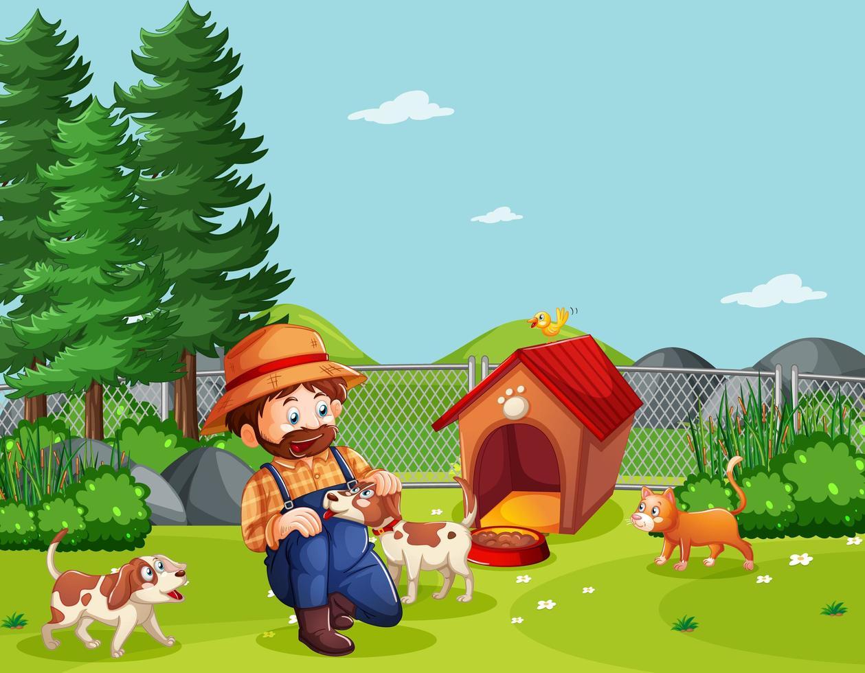 granjero con perros en el patio vector