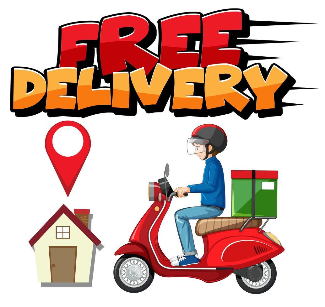 logo entrega gratis con mensajero vector