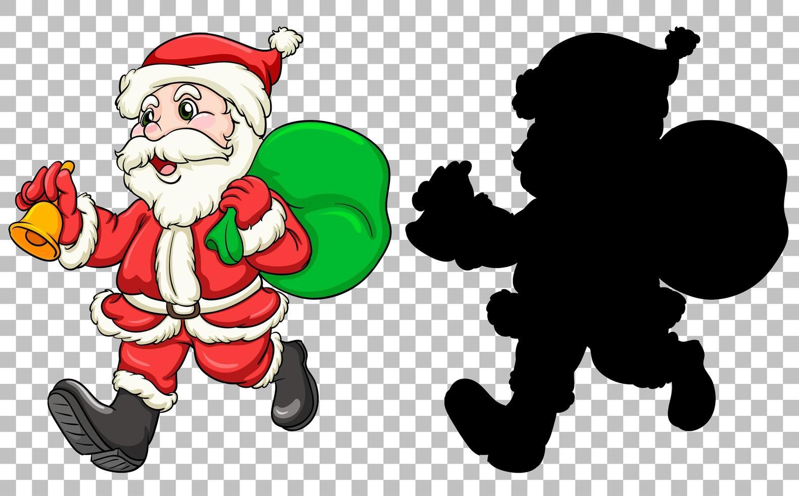 Santa carrying gift bag vector