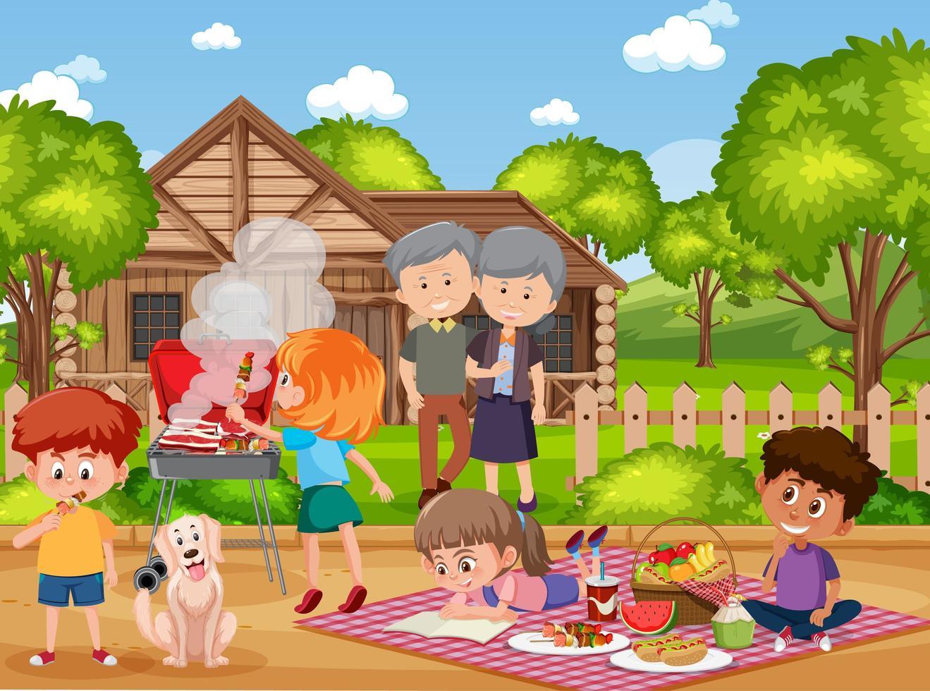 Picnic scene with happy family vector