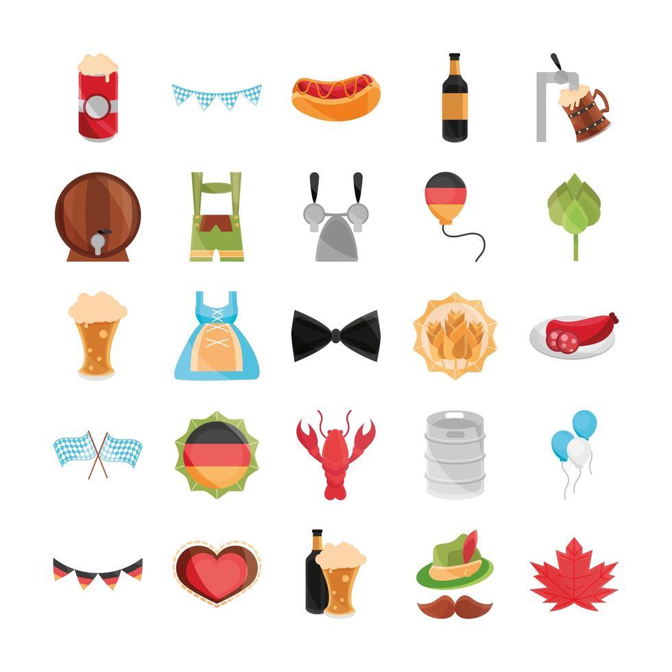 Oktoberfest beer festival and German celebration icon set vector