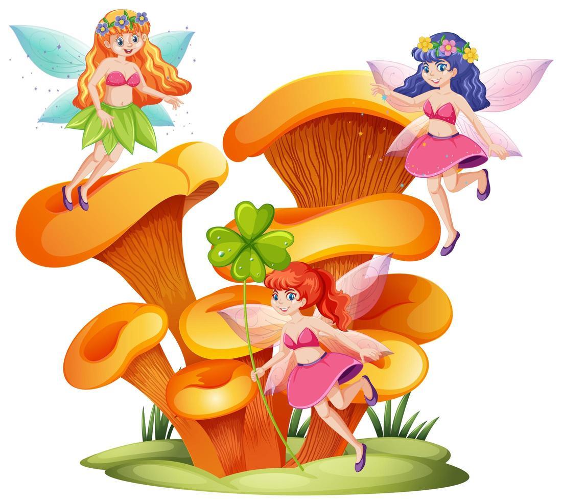 Fairies and mushrooms fantasy design vector