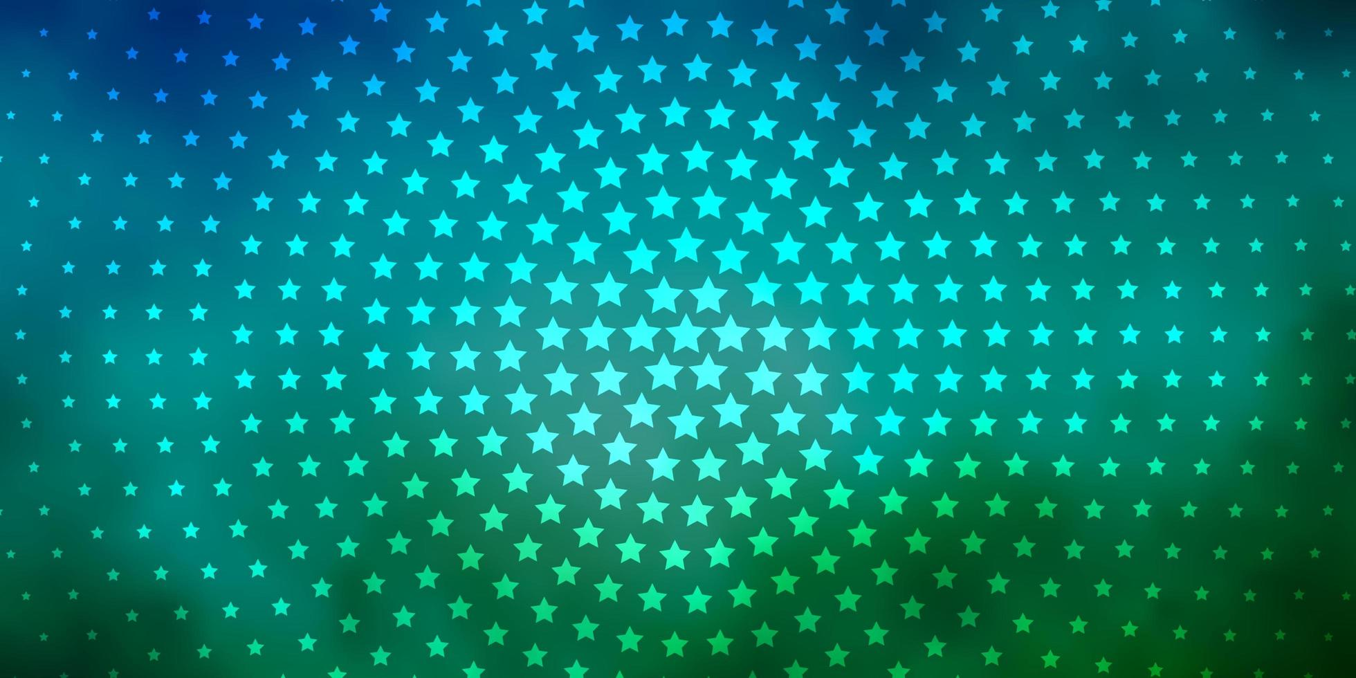 Blue and green background with colorful stars vector