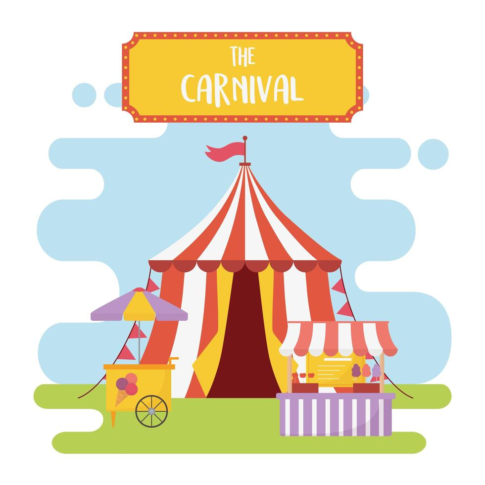 Composición de recreación de feria, carnaval y entretenimiento. vector