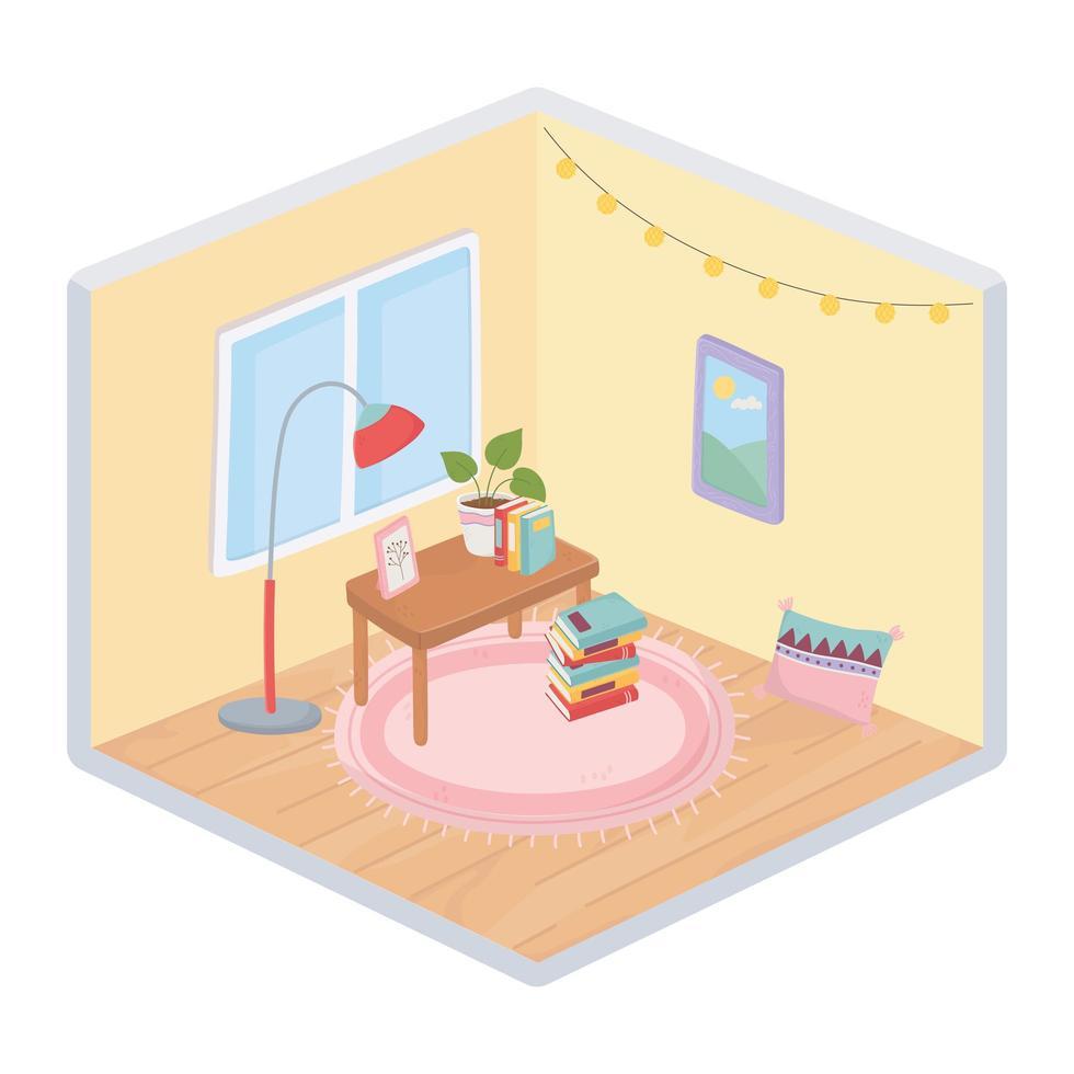 interior dulce hogar, composición de esquina isométrica vector