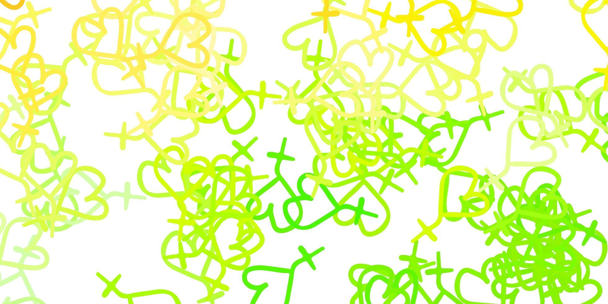 patrón verde y amarillo con elementos feministas. vector