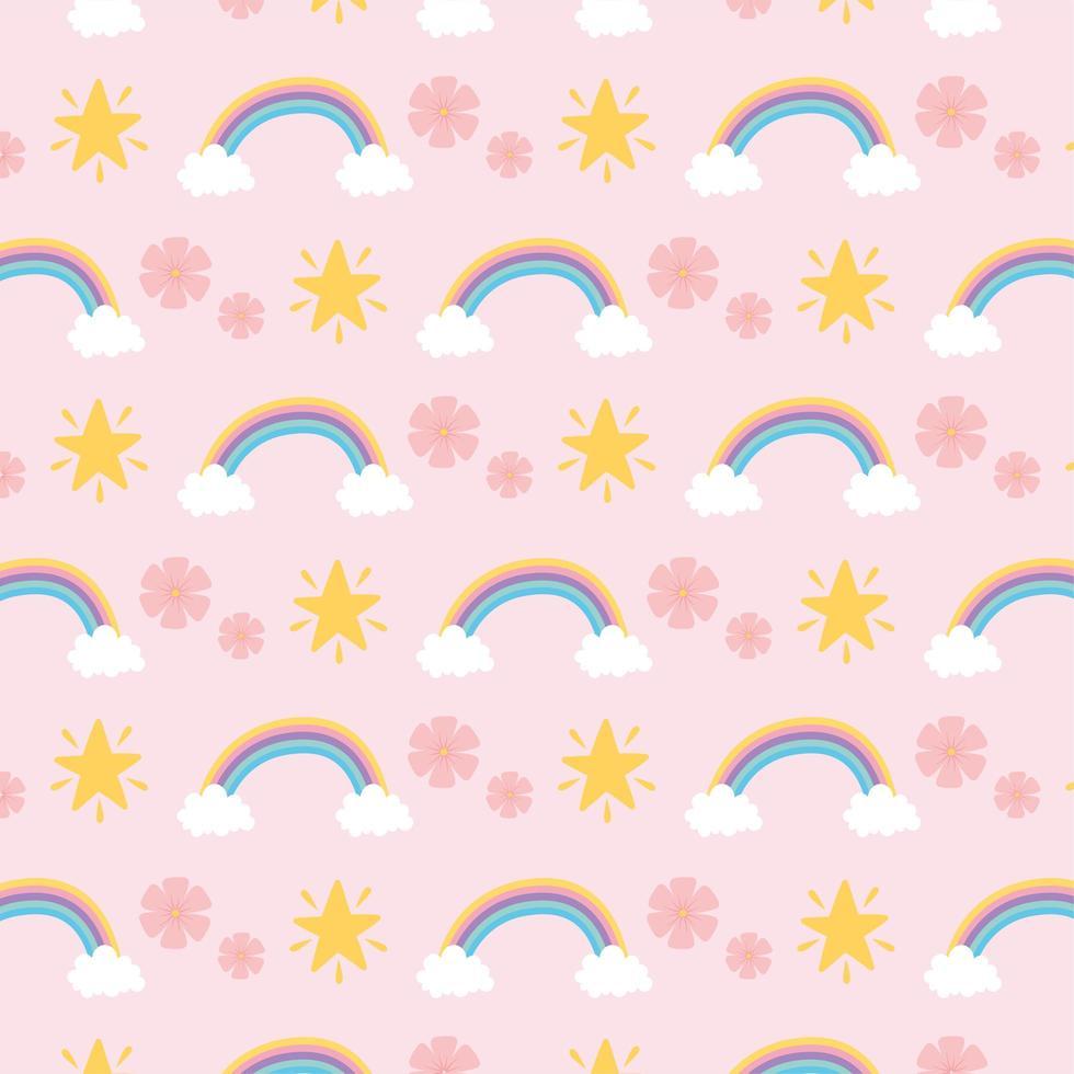 arco iris, flores y estrellas de fondo vector
